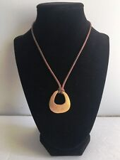 """NY Necklace Brown Cord with a Brass Pendant 9"""""""