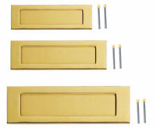 "Polished Brass Letter Plates 3 Sizes 10x3"" 12x4"" 16x5"" Door Post Box Letterplate"