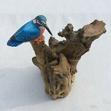 More details for wooden painted kingfisher on tree stump 33cm x 27cm hand carved and fair trade