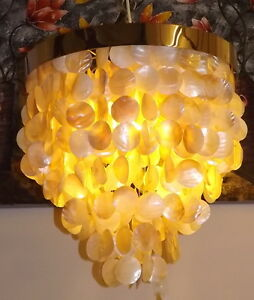 Chandelier IN Nacre And Stainless Steel CMS 50x60 Light Hanging Mother-Of Pearl