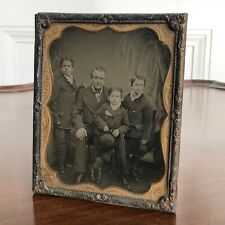 Large Antique Victorian Ambrotype Family Photograph Of A Father And Three Sons.