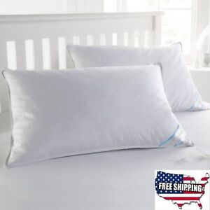 2 King Size Pillows Goose Down Feather Bed Set Thread Count Lay Cushion White