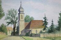 Gustav Müller Aquarell Kapelle bei Weidenbach November 1974