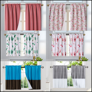 Flower Floral Half Window Rod Pocket KITCHEN Curtain SHORT Panel DR2 MANY DESIGN