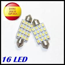 2X BOMBILLAS LED C5W 36MM FESTOON 16 LED BLANCO XENON COCHE MATRICULA AUDI BMW..