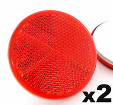 2x Self-Adhesive Stick-on Red Round Circular Trailer Caravan Reflectors 50mm
