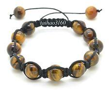 Natural 10mm Tiger Eye Stone Gemstone Round Beads Adjustable Shamballa Bracelet
