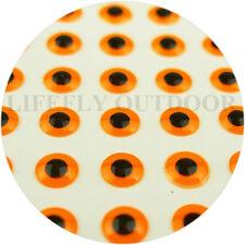 5mm 3D Fl. Orange / Wholesale 700 Soft Molded 3D Holographic Fish Eyes, Fly, Jig