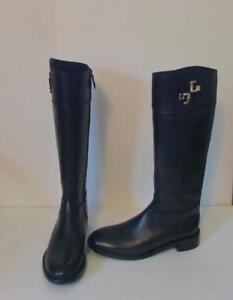 Tory Burch Lowell Black leather riding boot logo 9.5 gold zipper new tall