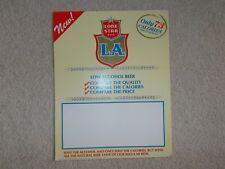 "LONE STAR ""L.A."" CARDBOARD ADVERTISING PLACARD 1984"
