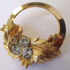 broche bijou vintage ancien cristaux diamant couleur or signé SARAH COV 433