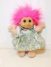 "Vintage Russ Troll Kidz Pink Hair Green Floral Dress 12"" Plush Blue Eyes"
