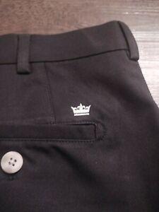 PETER MILLAR Crown Sport Men's 100% Polyester Size 36 SOLID BLACK Golf Shorts