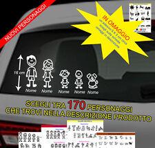 5 adesivi stickers personalizzati vetri auto famiglia nome bambini cane gatto