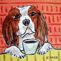 Cavalier King charles spaniel at the cafe coffee shop dog art tile coaster gift