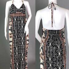Tori Richard Halter Hawaiian Tribal Tropical Earthy Cotton Luau Slit Maxi Dress