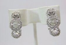 14K White Gold Diamond Triple Circle Hoop Earrings 0.85 CT