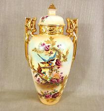 """Rare Antique Vase Hand Painted Art Nouveau Large Jar 1900s Falcon Ware 18"""" Tall"""