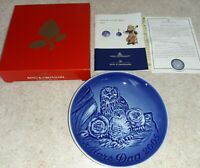 """Bing & Grondahl 2005 MOTHERS DAY PLATE """"Horned Owl With Chicks"""" Mors Dag"""