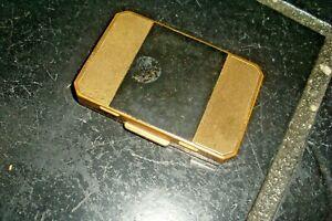 Vintage Retro 50s Deco Design Stratton Gold Tone Metal Powder Compact/Mirror