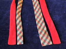 Vintage Tie Necktie Knit Rayon Men's Lot 2p Flat Bottom 1940's Retro +Bonus A35b