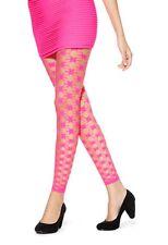 Emilio + Cavallini Hue Tights Sz S / M Fuchsia Pink Geo Net Footless Tight Nylon
