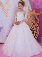 Flower Girl Dresses For Weddings Princess Appliqued Lace Kids First Communion