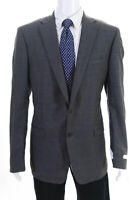Calvin Klein Mens Two Button Notched Lapel Blazer Jacket Gray Wool Size 48 Long