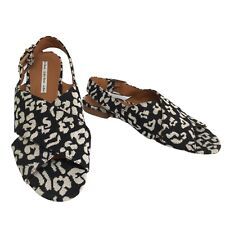 & Other Stoties Monochrome Animal Pattern Twill Slingback Sandals Size 8 UK 41EU