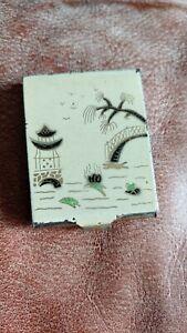 vintage Japanese enamel brass Calling card holder