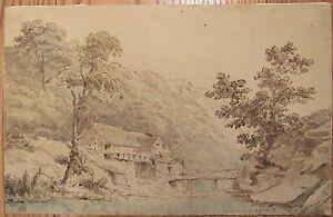 c.1800 Old Master ink wash drawing landscape Jesmond Dene Newcastle Tyne 11x17