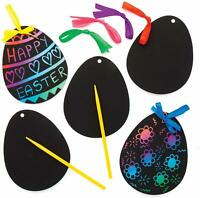 EASTER EGG Scratch Art Magnets Ribbons Decorations Kids Craft Activity Art Gift