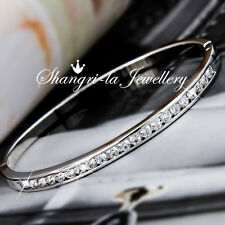 24K White GOLD GF Oval WEDDING Bangle Bracelet with SWAROVSKI Diamond EX752