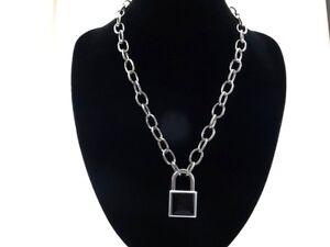 Padlock Pendant Charm 50cm Oval Link Chain Necklace with 2 Keys (Black Color)
