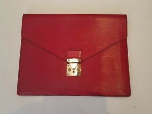LOUIS VUITTON RED EPI LEATHER DOCUMENT BAG