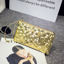 Women Ladies PU Leather Coin Bag Clutch Purse Wristlet Wallet Phone Makeup Bags