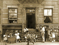 "1935-1939 Harlem Tenement in Summer, NY Vintage Old Photo 8.5"" x 11"" Reprint"