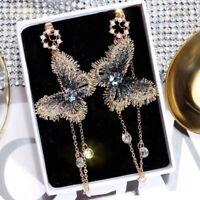 2019Trendy Embroidery Butterfly Crystal Long Tassel Drop Dangle Earrings Jewelry