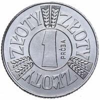 Polen - Münze 1 Zloty 1958 Mai in einem Kreis - Probe - Aluminium - Stempelglanz
