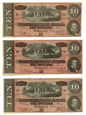 New listing (3) Confederate States Consecutive Serial Numbers Currency 1864 $10 Ten Notes