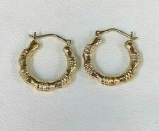Real 9ct Gold Small Hoop Creole Earrings Bamboo Design Iconic Italian Design