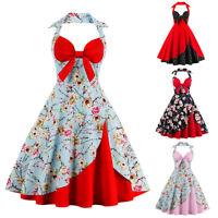 Women Flower Halter 50s Retro Dress Rockabilly Pinup Swing Wedding Party Dresses