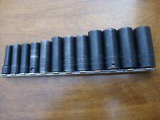 "SNAP ON USA 3/8""DR DEEP IMPACT SOCKET SET METRIC 6PT 12PC 8mm-20mm"