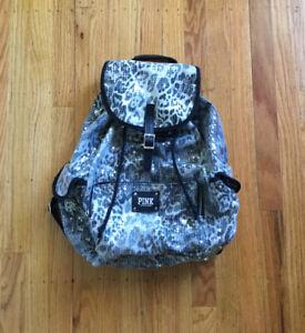 Victoria's Secret PINK Sequin Animal Print Backpack Drawstring Bucket Bag