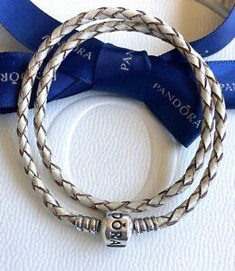 Authentic Pandora Cream Beige Braided Double Leather Bracelet 34.5cm #590745CPL