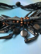 Black Tribal Choker Rope Africa Bohemian Necklace Artisan Tooth Wood Dark Gothic