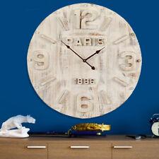 Orologio da Parete Paris in Legno Anticato BIanco Design Vintage Retro' 60cm
