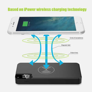 Portable Charger 300000mAh Qi Wireless Power Bank Charger for Iphone Cellphone
