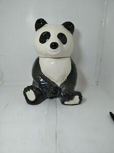 Vintage LG Panda Bear Cookie Jar Black & White Large Cookie Jar VTG ceramic 70's