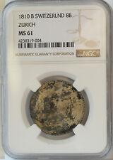1810B Switzerland Zurich 8 Batzen NGC MS61 Nice mottled toning